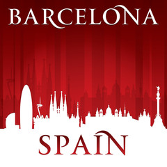 Barcelona Spain city skyline silhouette red background