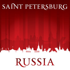 Saint Petersburg Russia city skyline silhouette red background
