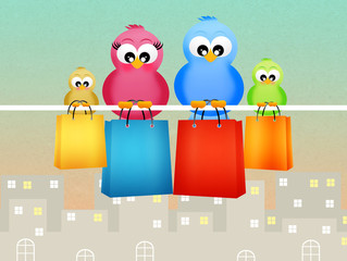 birds with shopping bags
