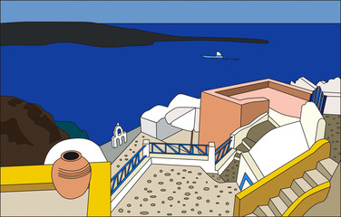 The traditional architecture of Santorini, Oia, vector.