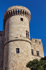Medieval castle tower, Rhodes town, Greece