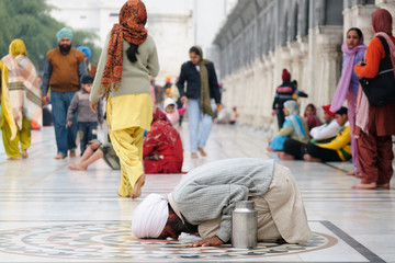 Praying pilgrim in Amritsar