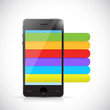phone and info graphic color lines illustration