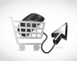 shopping cart mouse and cursor illustration