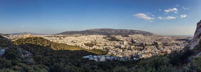 Athens cityscape during a spring afternoon