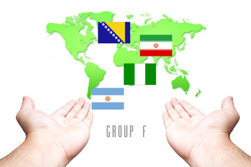 Mullti Flag with Hand and World Map background