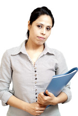 young woman holding folder