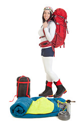 Hiker woman with tourist equipment isolated on white background