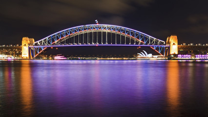 Sydney Vivid Bridge panorama