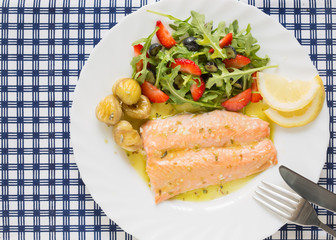 top view of roasted wild salmon fillet (low fat)  with berries s