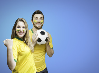Brazilian fans celebrates on blue background