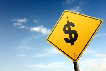 Dollars ahead. Yellow traffic sign.