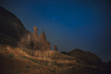 Courthouse Towers Desert Landscape at night