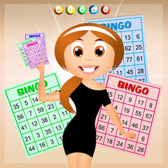 girl with bingo cards