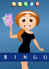 girl with bingo cards