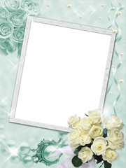 Vertical wedding frame with white roses