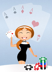 girl with poker cards