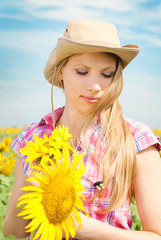 Beautiful woman in summer