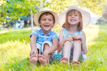 Kids on green grass