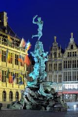 Evening view of Brabo fountain in Antwerp, Belgium