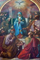 Vienna - Fresco of Pentecost scene in Altlerchenfelder church