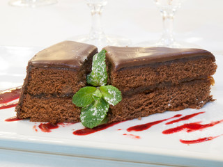 Piece of chocolate cake decorated by mint