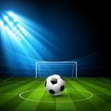 Football arena with a soccer ball. Vector