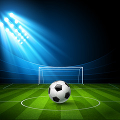Football arena with a soccer ball. Vector