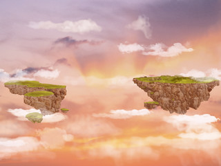 Flying islands in the sky.