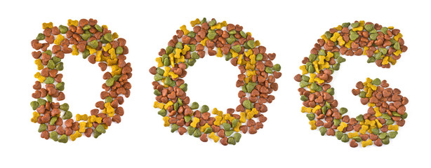 Dog food on white background. Letters that dogs