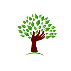 Hand on ecology awareness image. Concept of tree wisdom