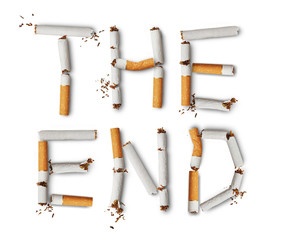 Text ''the end'' made from broken cigarettes