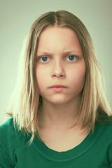 Portrait of a thinking teen girl
