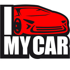I Love My Car Cool Logo Design