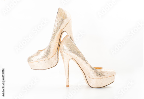 canvas print picture fashion gold female high heeled shoes on white isolated