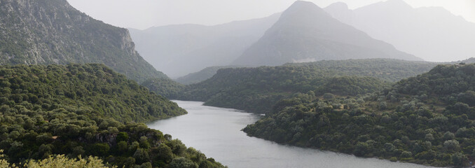 Panorama of Cedrino river of Sardinia
