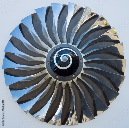 Staande foto Industrial geb. The blades of a turbofan jet engine close up.
