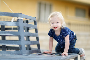 Adorable toddler girl portrait outdoors