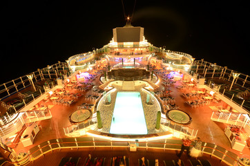 Cruise ship top deck at night