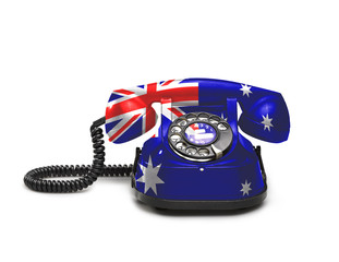 Office: old and vintage telephone with the Australia flag