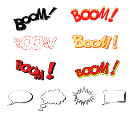 BOOM Comic book explosion sound effect with speech bubbles