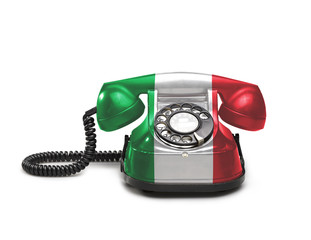 Office: old and vintage telephone with the Italy flag
