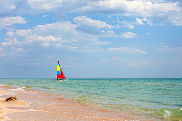 Colorful sailboat on the Black Sea, Crimea