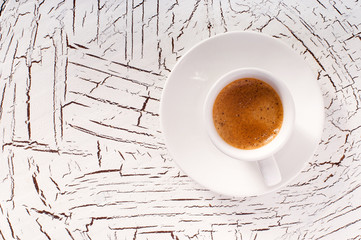Coffee espresso on the wooden background