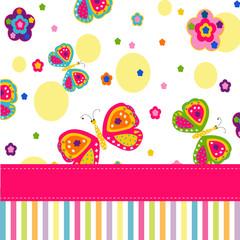 Butterflies and flowers vector card