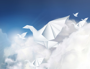 Paper origami doves in the clouds vector illustration