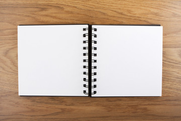 Open notebook with white page