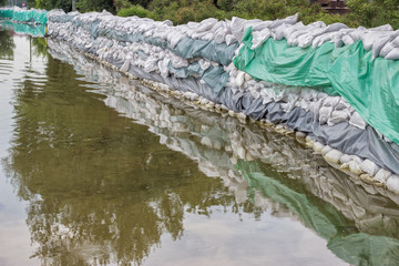 Big wall of sandbags for flood defense