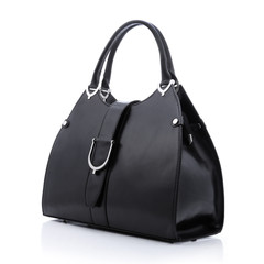 Black handbag on white background