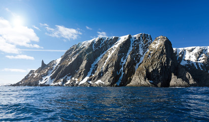 Landscape of North Cape cliff in cold sunny day